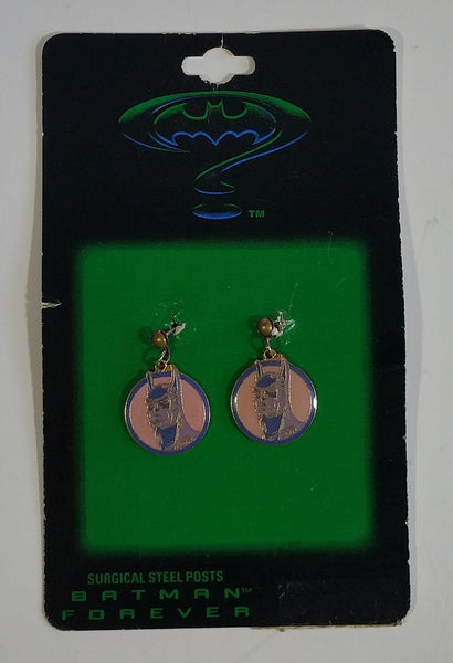 1995 DC Comics Batman Forever Superhero Character Themed Surgical Steel Posts Round Light Pink Enamel Earrings in Package