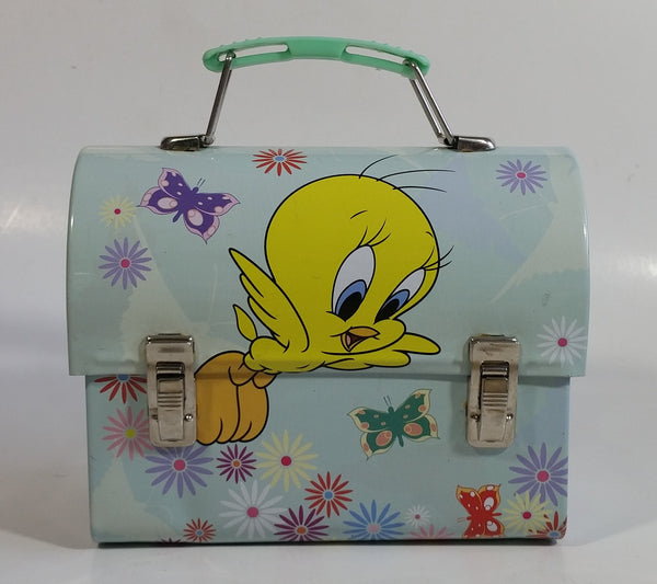 Warner Bros. Looney Tunes Tweety Bird Cartoon Character Small Light Green Tin Metal Lunch Box Carrying Case Container