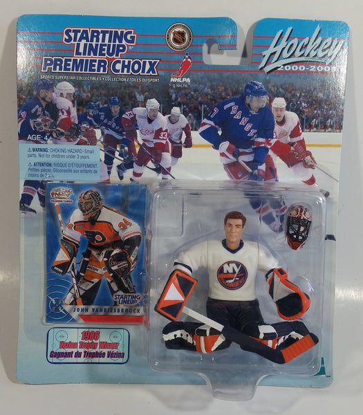 2000 - 2001 Hasbro Starting Lineup NHL Ice Hockey Player Goalie John Vanbiesbrouck NY Islanders and Philadelphia Flyers 1986 Vezina Trophy Winner  Action Figure and Pacific Trading Card New in Package