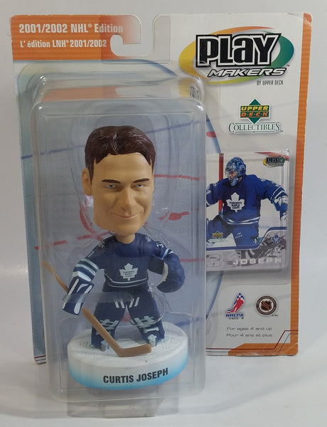 2001 / 2002 Upper Deck Collectibles Play Makers Special Edition NHL NHLPA Ice Hockey Player Curtis Joseph Toronto Maple Leafs 1/12 Scale Figure and Trading Card New in Package