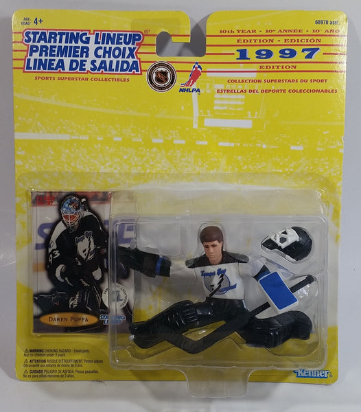 1997 10th Year Edition Kenner Hasbro Starting Lineup NHL Ice Hockey Player Goalie Darren Puppa Tampa Bay Lightning Action Figure and Fleer Trading Card New in Package
