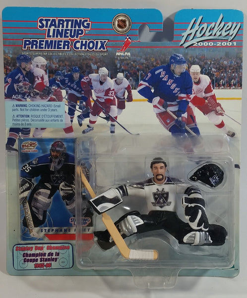 2000 - 2001 Hasbro Starting Lineup NHL Ice Hockey Player Goalie Stephane Fiset Los Angeles Kings 1995-96 Stanley Cup Champion Action Figure and Pacific Trading Card New in Package