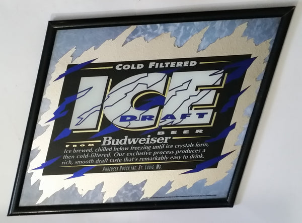 "1993 Budweiser Cold Filtered Ice Draft Beer Black, Blue and White Slanted Pub Mirror 23"" x 26"" Anheuser-Busch"
