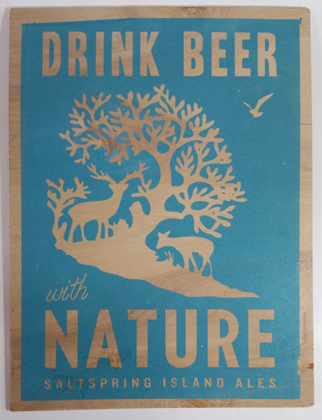 "Salt Spring Island Ales ""Drink Beer with Nature"" 12"" x 16"" Aqua Blue Print Wood Advertising Sign"