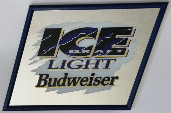 "1994 Budweiser Cold Filtered Ice Draft Beer Black, Blue and White Slanted Pub Mirror 21"" x 25"" Anheuser-Busch"