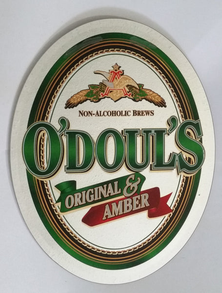 "Anheuser-Busch O'Doul's Original & Amber Non-Alcoholic Brews 22"" x 27 1/2"" Large Oval Shaped Mirror Pub Bar Lounge Beer Advertising Collectible"
