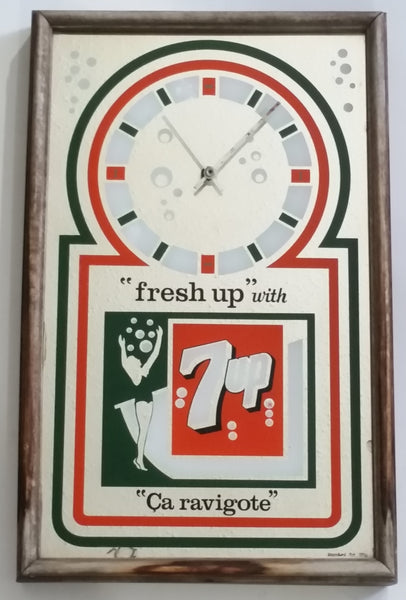 "Vintage Hard To Find Rare Stamford Art ""Fresh Up"" with 7up ""Ca Rivagote"" Glass Mirror Wood Framed Soda Pop Beverage Advertising Clock 13 1/2"" x 21"""