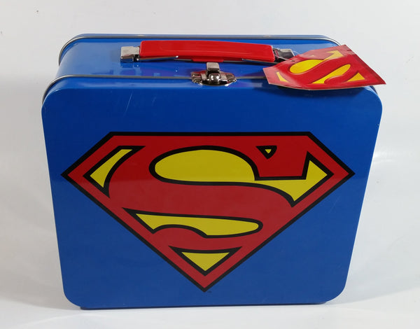 DC Comics Blue Superman Tin Metal Lunch Box Superhero Collectible With Original Tag