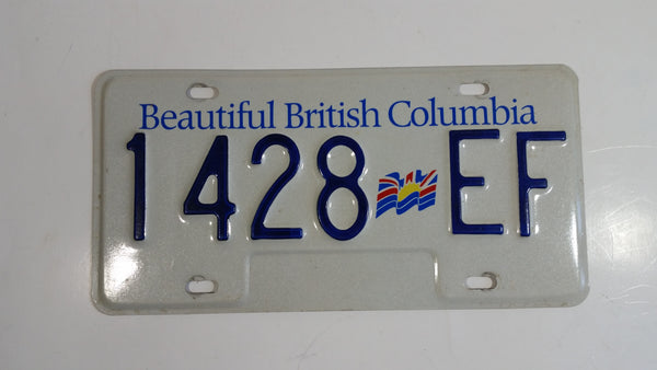 Beautiful British Columbia White with Blue Letters Vehicle License Plate 1428 EF