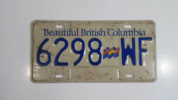 Beautiful British Columbia White with Blue Letters Vehicle License Plate 6298 WF