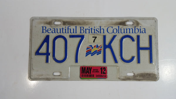 Beautiful British Columbia White with Blue Letters Vehicle License Plate 407 KCH
