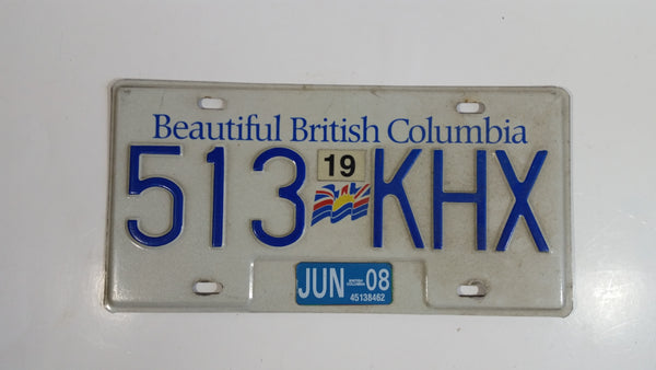 Beautiful British Columbia White with Blue Letters Vehicle License Plate 513 KHX