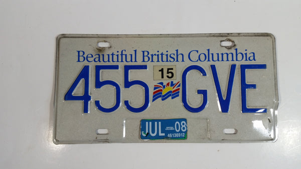 Beautiful British Columbia White with Blue Letters Vehicle License Plate 455 GVE