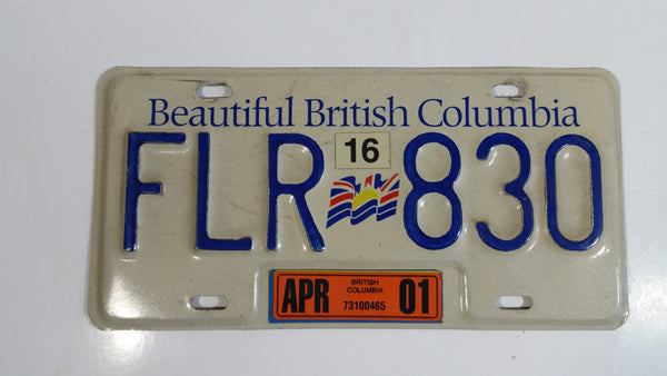 Beautiful British Columbia White with Blue Letters Vehicle License Plate FLR 830