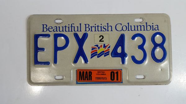 Beautiful British Columbia White with Blue Letters Vehicle License Plate EPX 438