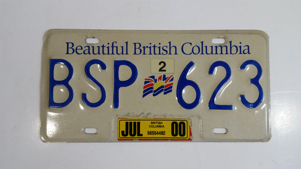 Beautiful British Columbia White with Blue Letters Vehicle License Plate BSP 623