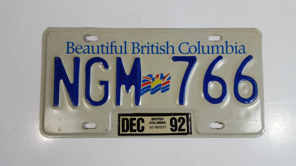 1992 Beautiful British Columbia White with Blue Letters Vehicle License Plate NGM 766