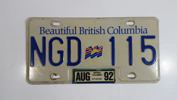 1992 Beautiful British Columbia White with Blue Letters Vehicle License Plate NGD 115