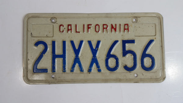 1990-95 California in Red on White with Blue Letters Vehicle License Plate 2HXX656