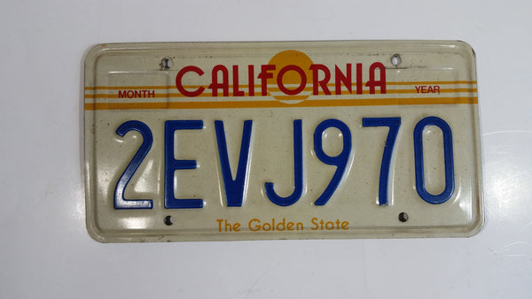 1982-1989 California in Red with Yellow Sun, Stripes and The Golden State on White with Blue Letters Vehicle License Plate 2EVJ970