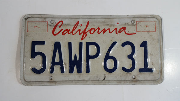 1996-97 California in Red on White with Blue Letters Vehicle License Plate 5AWP631