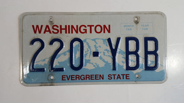 "1998 to 2010 Washington ""Evergreen State"" in Red on White and Blue Mountain Backdrop with Blue Letters Vehicle License Plate 220 - YBB"
