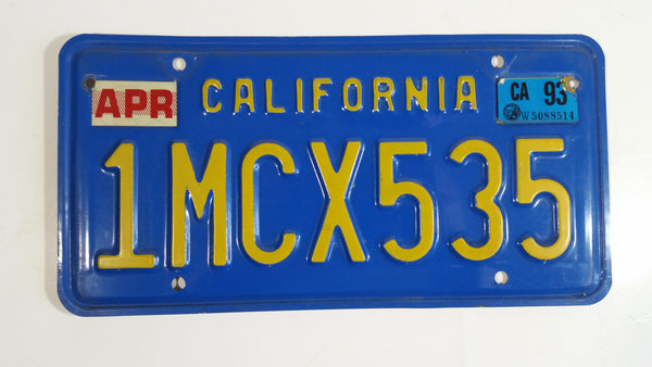 1980 to 1982 California Blue with Yellow Letters Vehicle License Plate 1MCX535