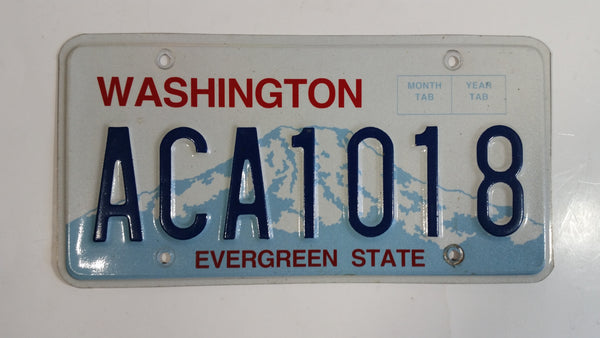 "2010 + Washington ""Evergreen State"" in Red on White and Blue Mountain Backdrop with Blue Letters Vehicle License Plate ACA1018"