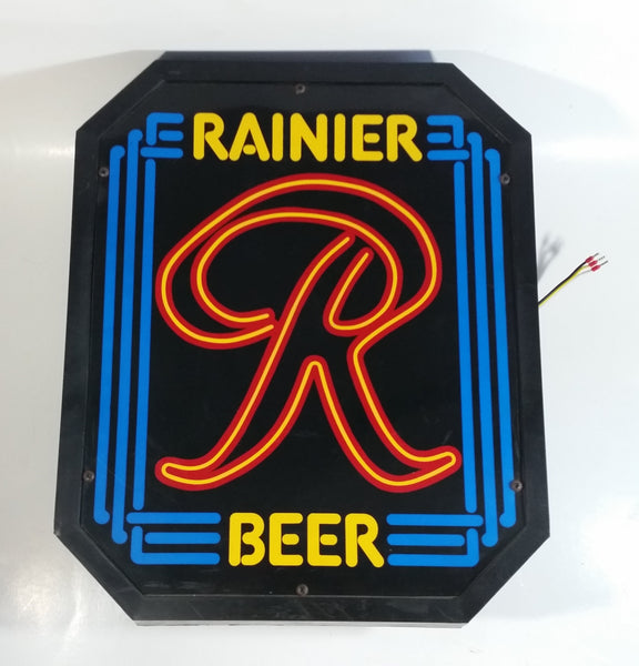 "Vintage Rainier Beer Illuminated Light Up Plastic Sign 13"" x 15 1/2"""