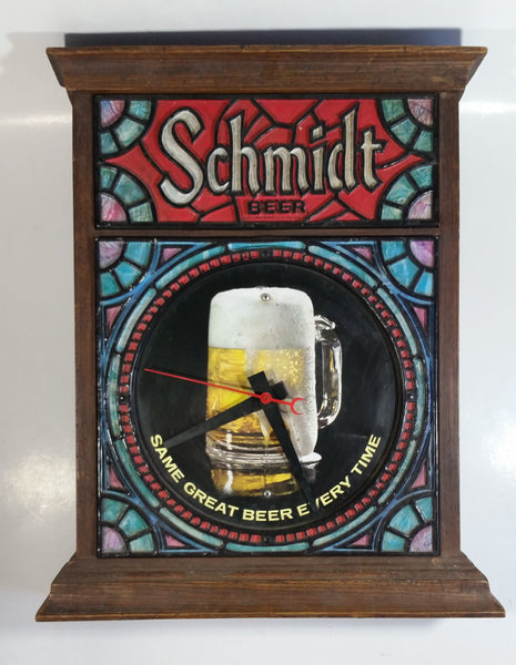 "Rare Version Vintage 1970s Schmidt Beer Stained Glass Style Hard Plastic 15"" x 18 1/2"" Electric Plug In Clock Sign Working"