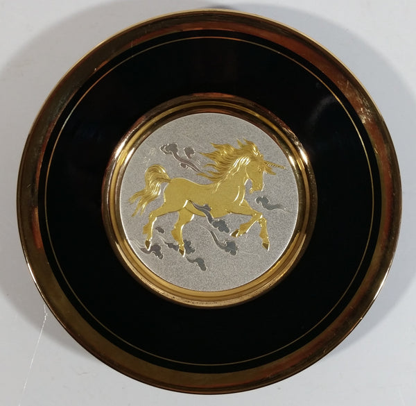 "Vintage Rare Art of Chokin Unicorn in the Clouds Themed Black and Silver with 24K Gold Trim 6"" Diameter Decorative Collector Plate"