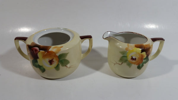 Antique Noritake Hand Painted Sugar Bowl and Creamer Porcelain Tea Ware