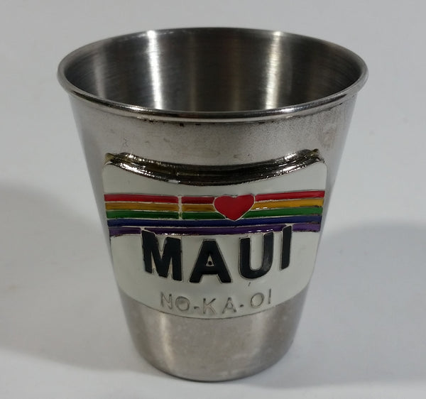 Maui Hawaii NO-KA-OI Rainbow Themed Metal Shot Glass
