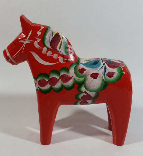 Antique Swedish Dala Horse Red Hand Painted Wooden Carved Decorative Ornament