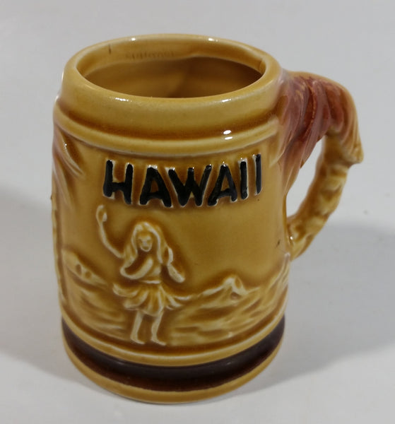 "Hawaii Hula Girl Palm Trees Pineapples Ceramic Raised Relief Miniature 2 3/8"" Tall Beer Stein Shaped Shot Glass"