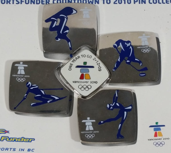 2010 Vancouver Olympic Games Countdown 5 Pin Puzzle Shaped Set Snowboarding Hockey Downhill Skiing and Figure Skating