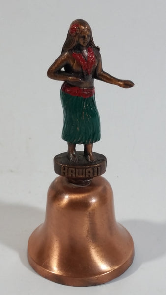 "Hawaii Hula Girl 4"" Tall Copper Bell Souvenir Travel Collectible"