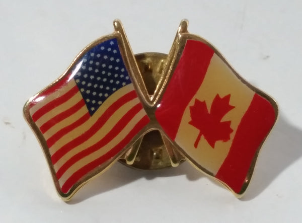 USA and Canada Waving Flags Enamel and Metal Pin