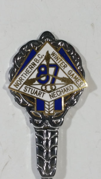 1987 Stuart Nechako Northern B.C. Winter Games Enamel and Metal Souvenir Spoon Sports Collectible