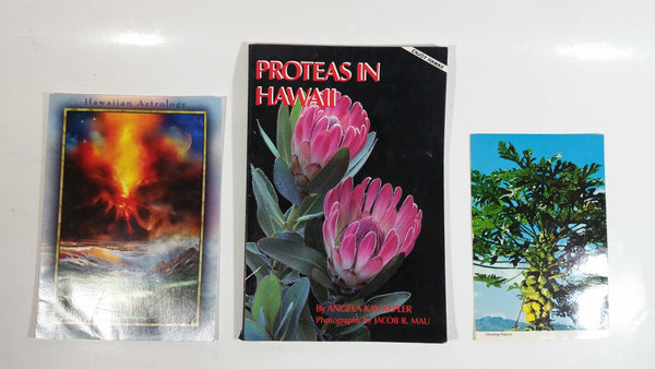 "Hawaii Paper Lot: ""Growing Papaya"" Postcard, ""Hawaiian Astrology Aries-Ka Mua"" Greeting Card, and Proteas In Hawaii Flower Book by Angela Kay Kepler"