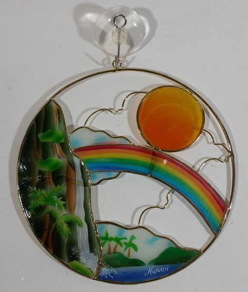 Hawaii Waterfall, Rainbow, and Sun Themed Circular Stained Glass Style Window Hanging 6""