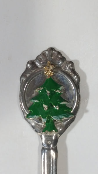 3D Green Christmas Tree with Gold Star Silver Plated Steel Metal Spoon