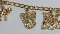 "Niagara Falls Canada RCMP Maple Leaf Boat Charm Gold Tone 6"" Long Bracelet Travel Souvenir"