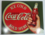 "Coca Cola Drink Ice Cold Sold Here 12 1/2"" x 16"" Tin Metal Sign"