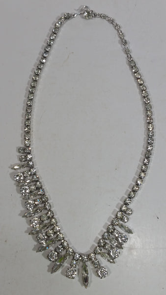 Vintage Fabulous 1960s Signed Sherman Clear Brilliant Rhinestone Necklace