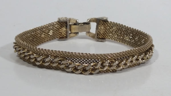 "Gold Tone Chain Style 6 3/4"" Long Tennis Bracelet"