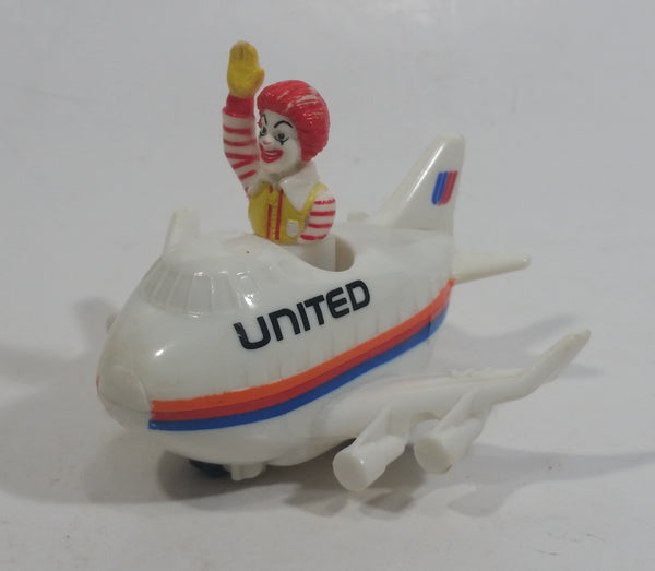 1991 McDonald's Ronald McDonald in United Airlines White Jumbo Jet Airplane Toy Vehicle