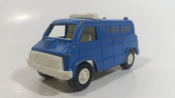 Vintage Tootsietoys Police S.W.A.T. Van Blue Plastic and Die Cast Toy Car Vehicle