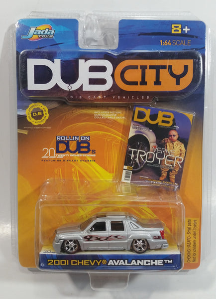 2001 Jada Dub City Verne Troyer 2001 Chevy Avalanche Truck Silver Die Cast Toy Car Vehicle 1:64 Scale