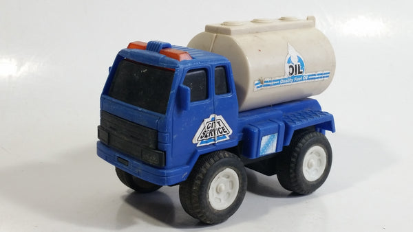 Unknown Brand Blue and Grey City Service Oil Fuel Tanker Truck Toy Car Vehicle